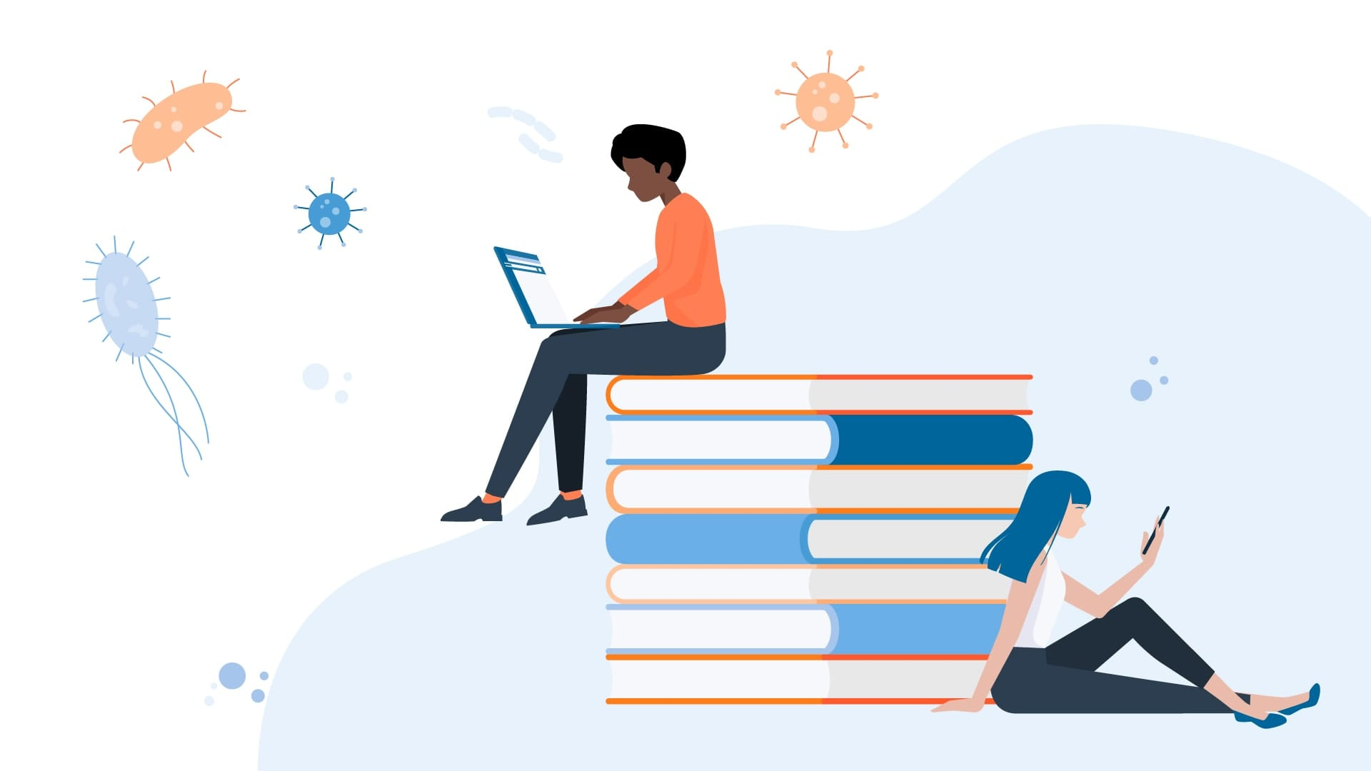 Illustration of college students sitting on an oversized stack of books, tiny cartoon viruses and bacteria floating around them.