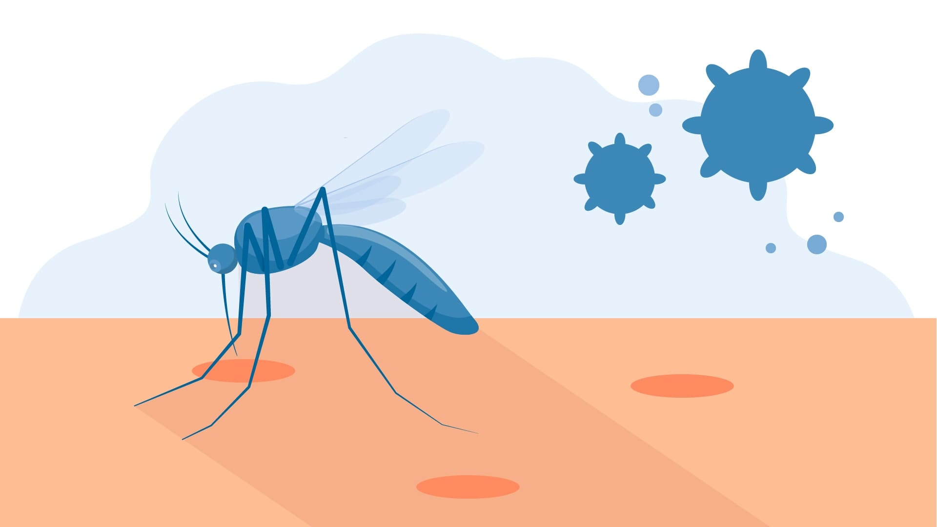 An illustration of a mosquito biting someone's arm, next to an illustration of HIV