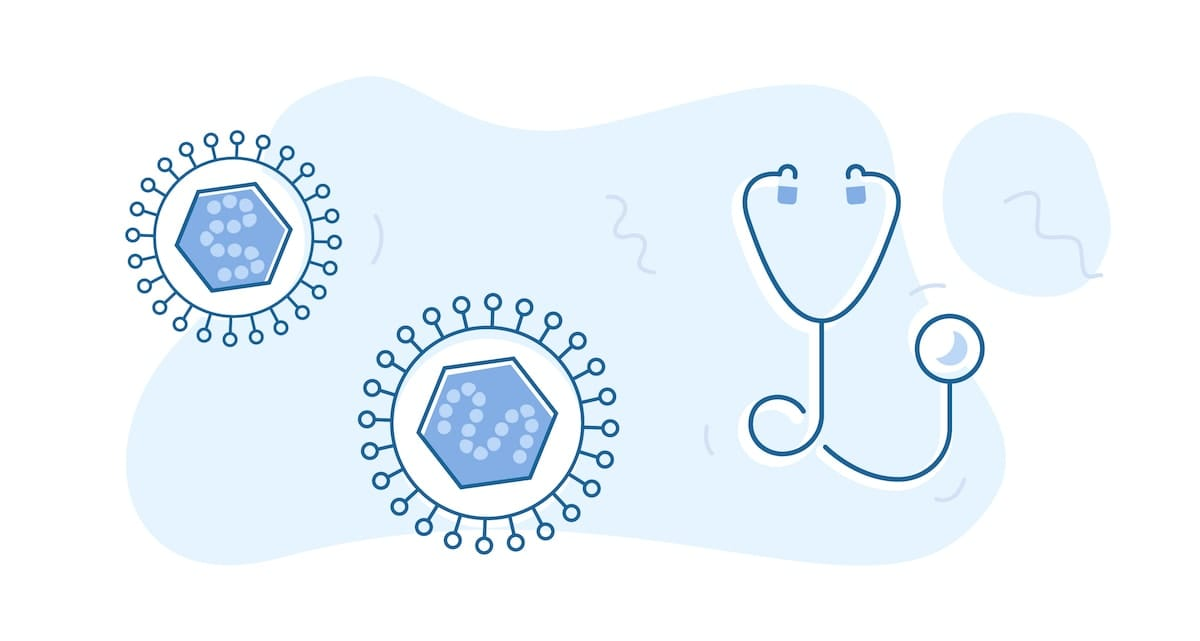 The herpes virus, illustrated, next to an illustration of a stethoscope