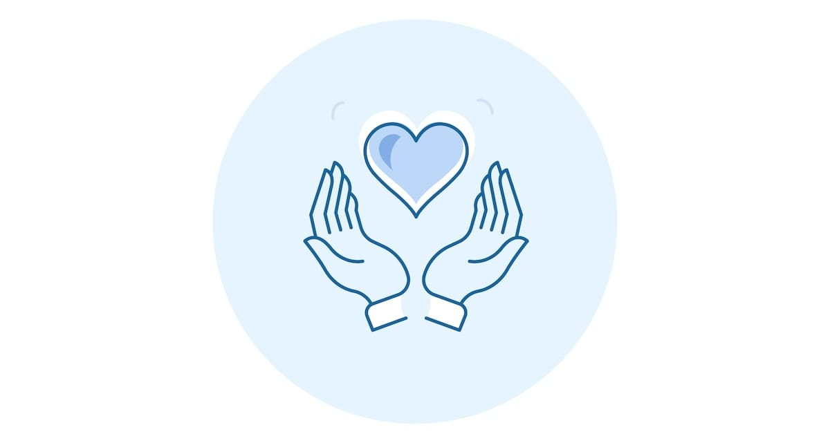 An icon of hands, cupped, with a heart floating above them.