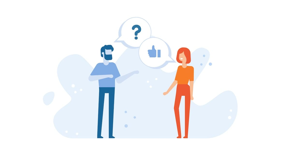 A blue man and an orange woman speaking. Above the man's head is a speech bubble containing a question mark, while the woman also has a speech bubble containing a thumbs up.