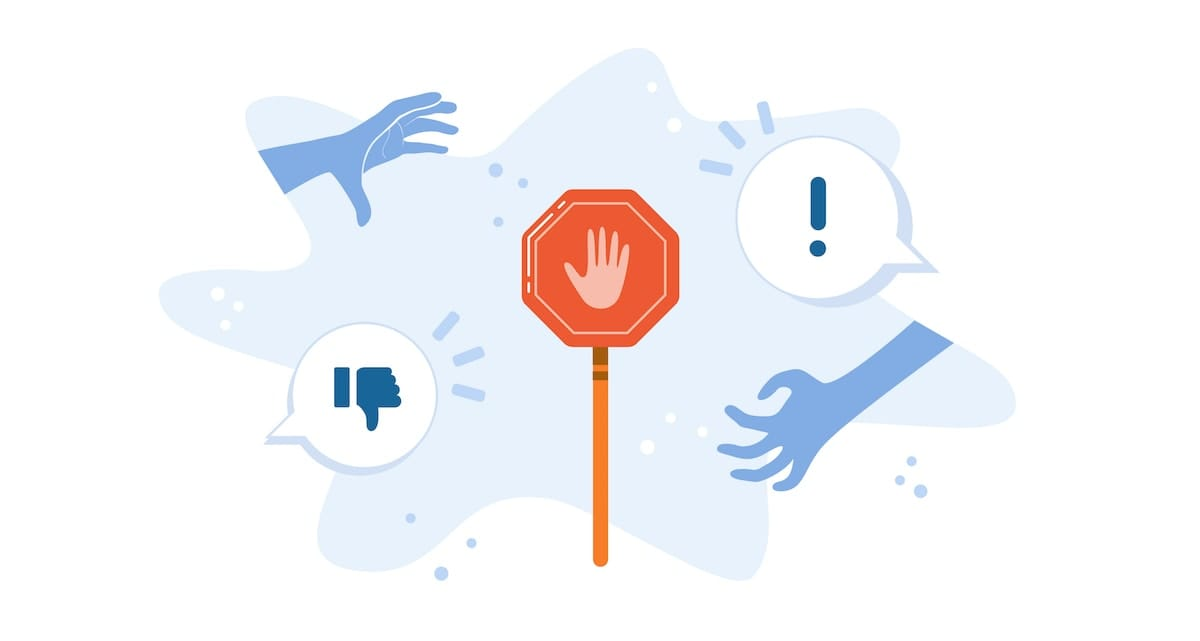An orange stop sign, surrounded by symbols that indicate assault or harassment, including reaching hands and thumbs down emoji.
