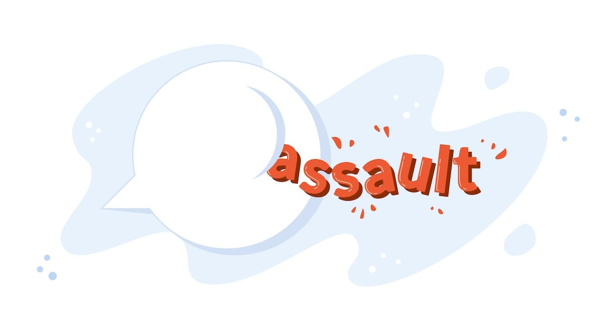 "A speech bubble pushing away and breaking the word ""assault."""