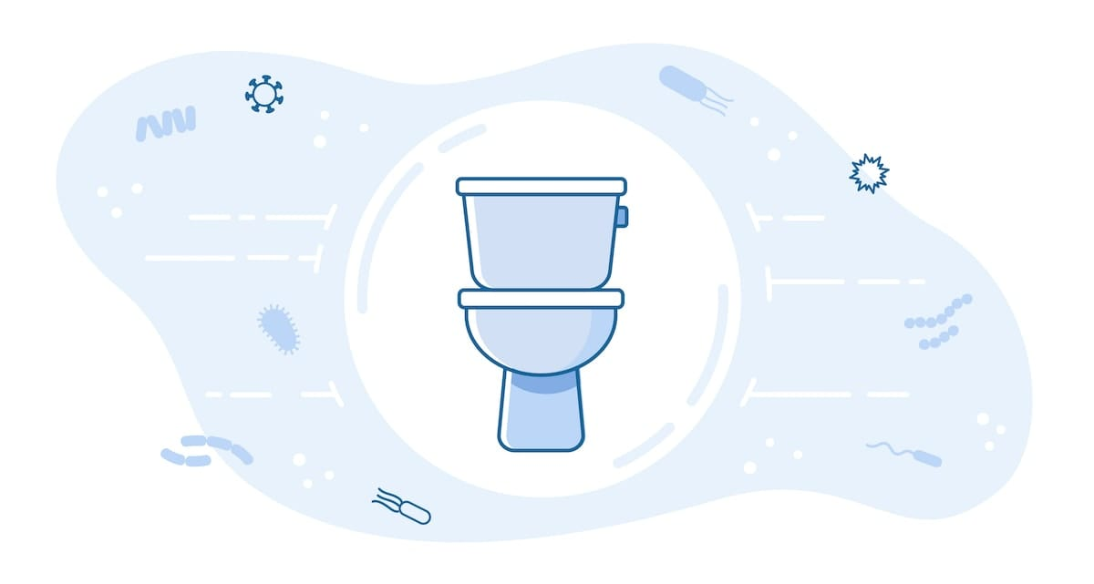 An illustration of a toilet.