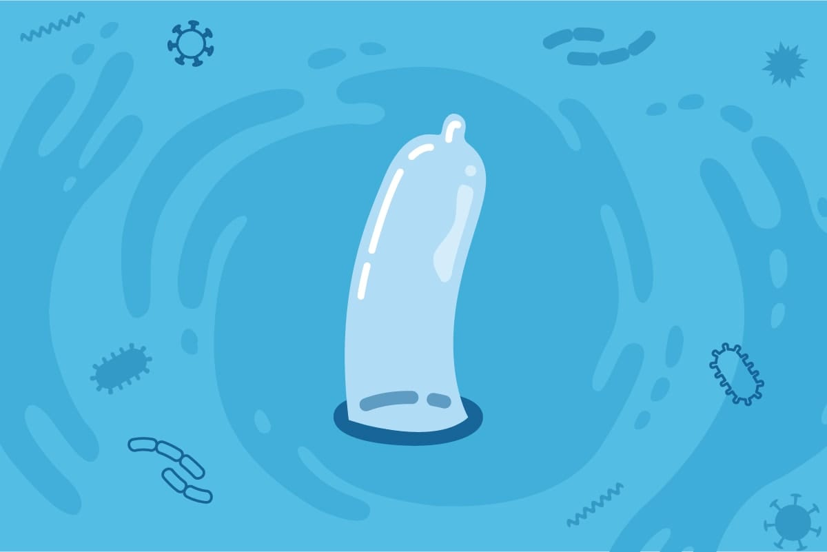 Cartoon of an external condom