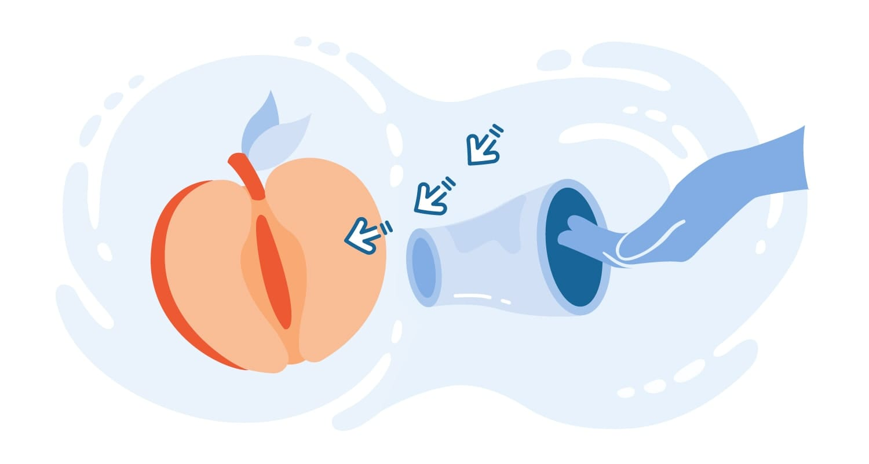 Cartoon of an internal condom being inserted into a peach