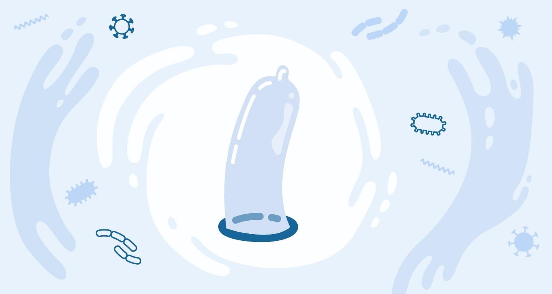 Cartoon of an external condom