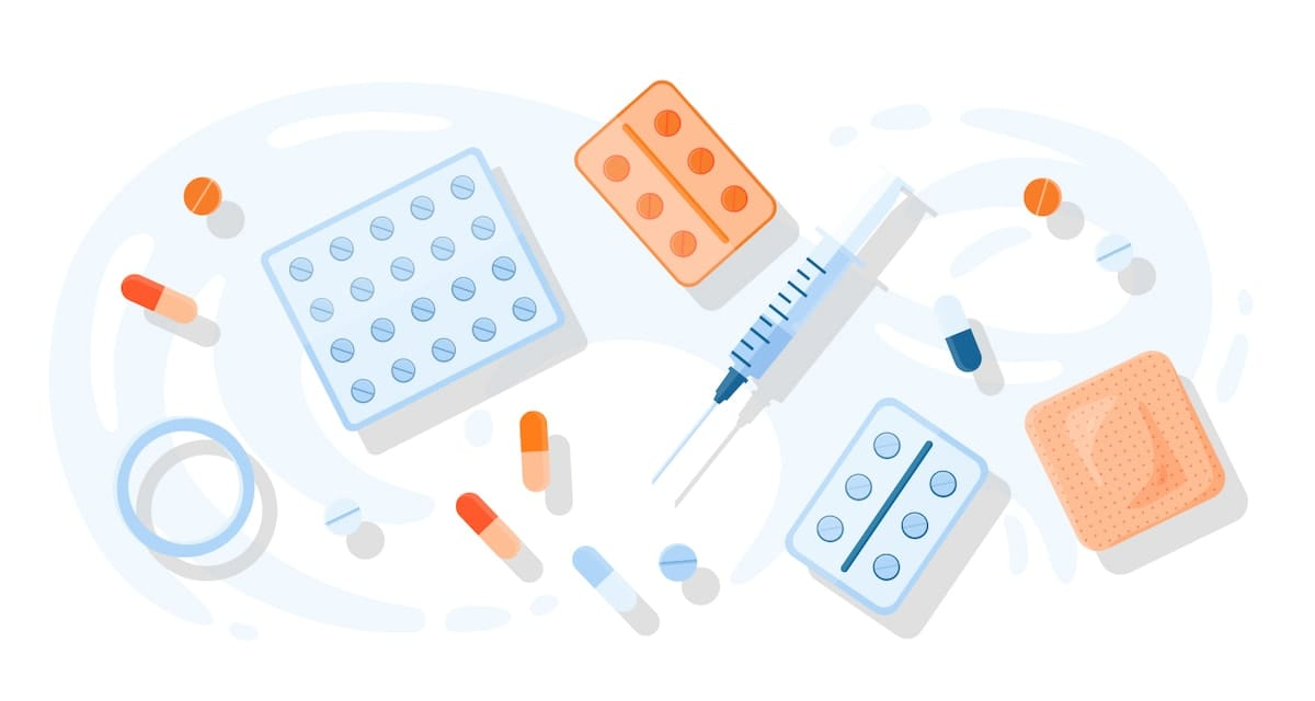 Illustrations of the different types of hormonal birth control, including pills and shots.