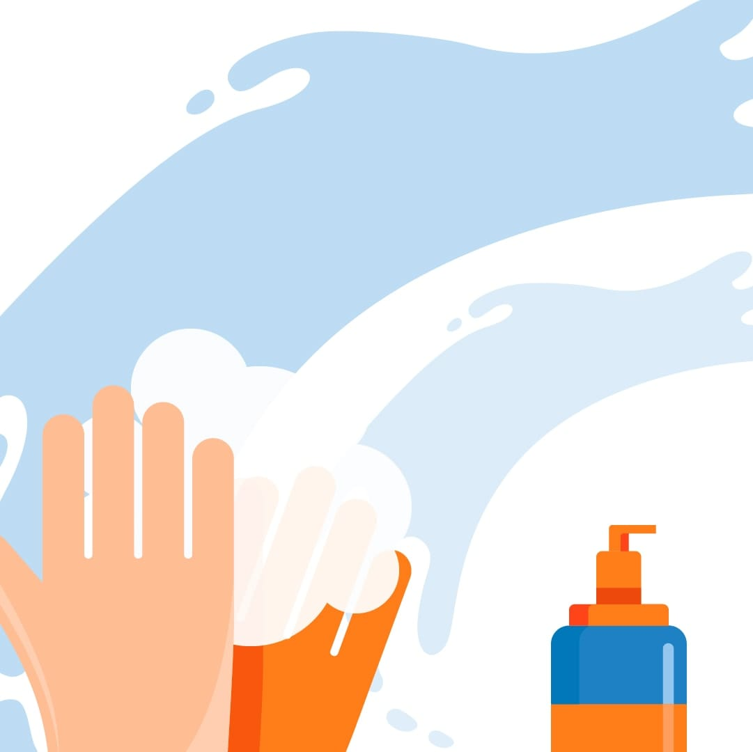 Animated image of two hands washing one another.
