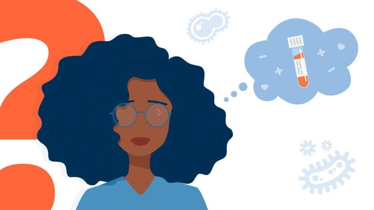Woman with glasses with thought bubble above her head.