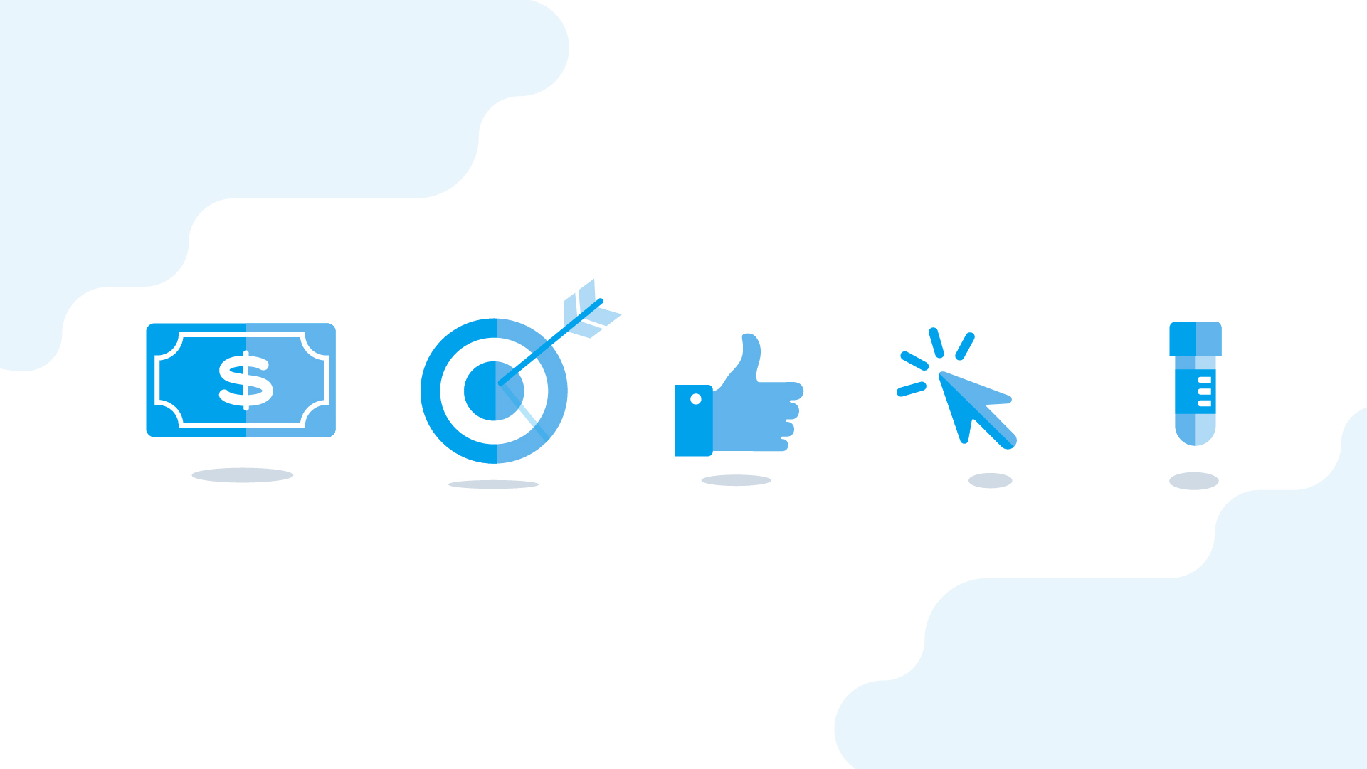 dollar bill, target, thumbs up, mouse cursor and test tube icons on blue and white backdrop